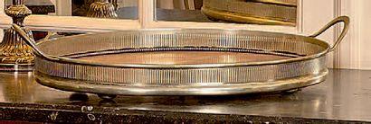 Plateau ovale en métal argenté à fond de...