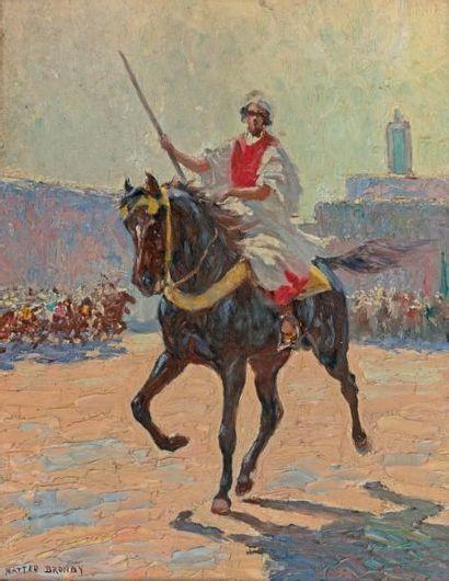 Mattéo BRONDY (1866-1944) Meknès, cavalier sur la place Huile sur carton, signée...