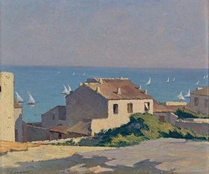 Jean-Gabriel GOULINAT (1883-1972) Vieilles maisons au-dessus du port de Sète Huile...