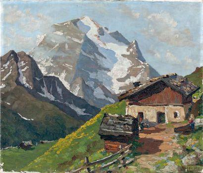 Luigi VICENTI (1901-1970) Le chalet Huile sur toile, signée en bas à droite. 60 x...