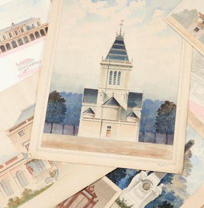 École FRANÇAISE de la fin du XIXe siècle Ensemble de deux cartons à dessins contenant...