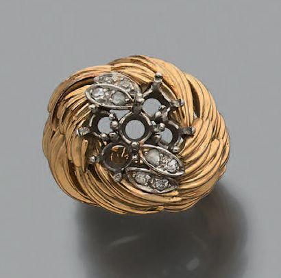 Monture de bague boule en or jaune 750 millièmes...