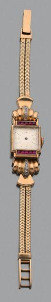 Montre bracelet de dame en or jaune 750 millièmes et platine 850 millièmes (0,6...