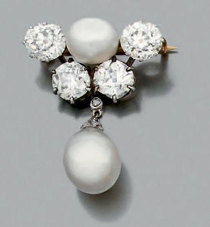 Broche en or 750 millièmes ornée d'une perle...