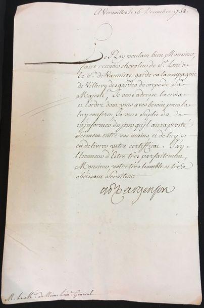 Ordre de Saint-Louis - Lettre d'envoi d'une...
