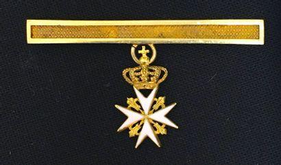 Ordre de Malte - Barrette de gala en or soutenant...