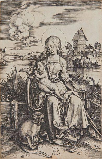 Albrecht DÜRER La Vierge au singe, 1498, burin, 19 x 12,3 cm, coupée sur le coup...