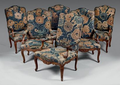 Mobilier de salon comprenant six fauteuils...