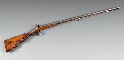 Beau fusil de chasse à percussion, deux coups,...