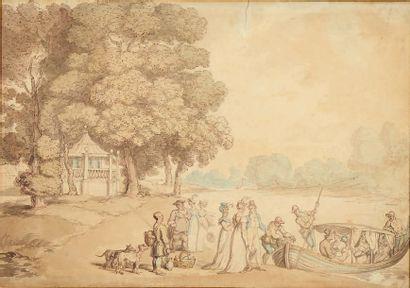 Attribué à Thomas ROWLANDSON (1756-1827) Embarquement pour un pique-nique Dessin....
