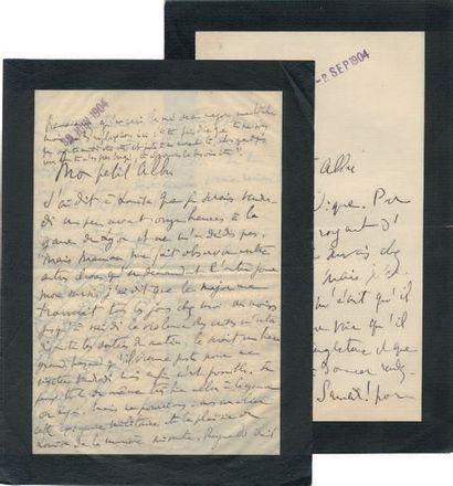 PROUST (Marcel) 2 lettres autographes signées, l'une «Marcel», l'autre «votre Marcel»....