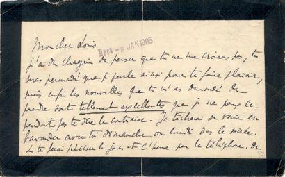 PROUST (Marcel) Lettre autographe signée «Marcel Proust». S.l., [date de réception...