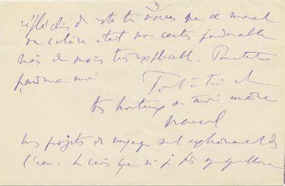 PROUST (Marcel) Lettre autographe signée «Marcel» en 2 endroits dont un de manière...