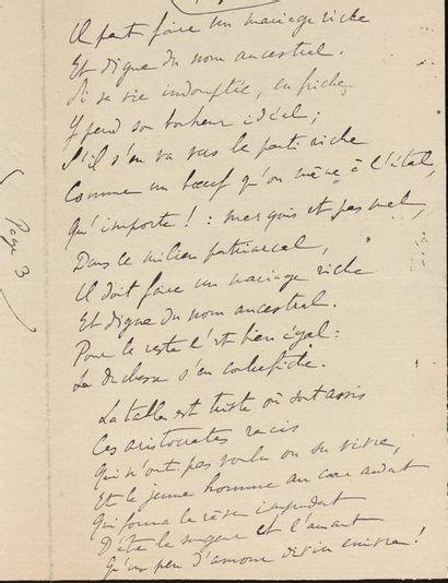 PROUST (Marcel) Poème autographe. [Mars ou mai 1904]. 61 vers octosyllabes sur 4...