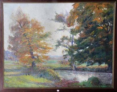 Georges Le MEILLEUR (1861-1945) Bouquets d?arbres sur la Sâane Huile sur toile Signé...