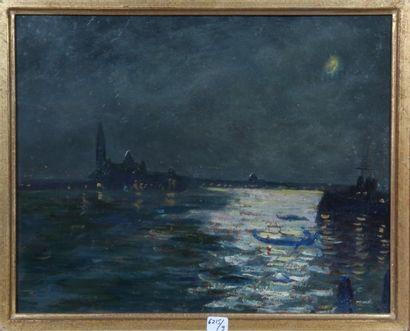Georges Le MEILLEUR (1861-1945) Paysage vénitien sous la lune Huile sur carton Signé...