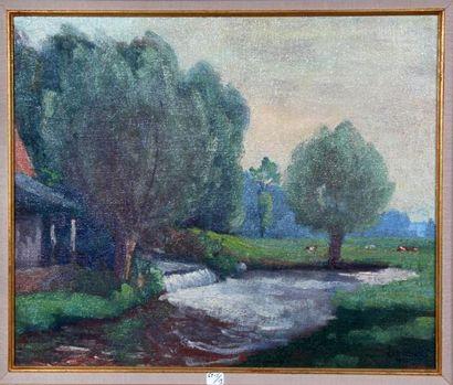 Georges Le MEILLEUR (1861-1945) Moulin de la Sâane Huile sur toile Signé et daté...