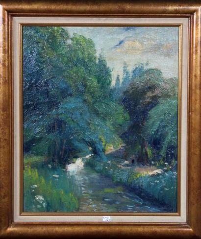 Georges Le MEILLEUR (1861-1945) Rivière en pays de Caux Huile sur toile 55x46 cm