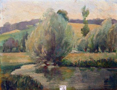 Georges Le MEILLEUR (1861-1945) L?étang au saule Huile sur panneau Cachet d?atelier...