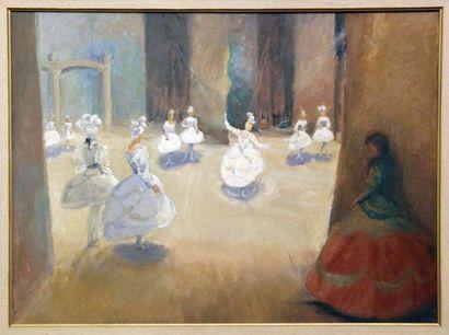 André NIVARD (1880-1969) Castor et Pollux, Opéra Huile sur toile monogrammée en bas...
