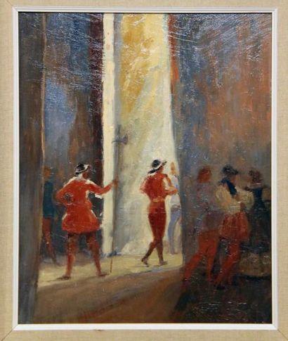 André NIVARD (1880-1969) Faust Huile sur panneau Signé en bas à droite 44x36 cm