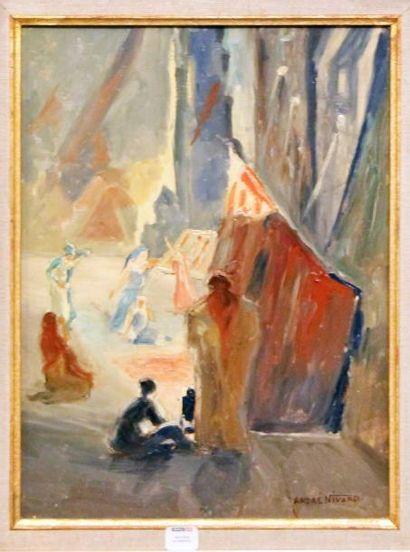 André NIVARD (1880-1969) Scènes d Antar Deux huiles sur panneau Signé en bas à droite...