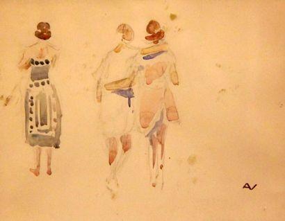 André NIVARD (1880-1969) Costume de théâtre et personnages Aquarelles