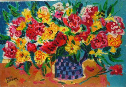 Marc BOUTEAU (1935) Vase à damiers, 1978 Huile sur toile Signé en bas à gauche 38x55...