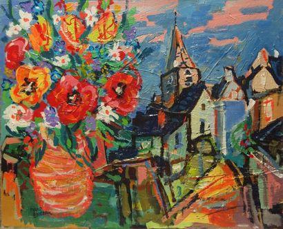 Marc BOUTEAU (1935) Village breton, 1980 Huile sur toile Signé en bas à gauche 46x55...