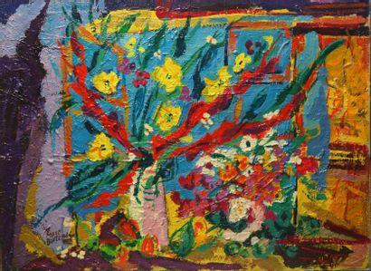 Marc BOUTEAU (1935) Fleur devant fenêtre, 1976 Huile sur toile Signé en bas à gauche...