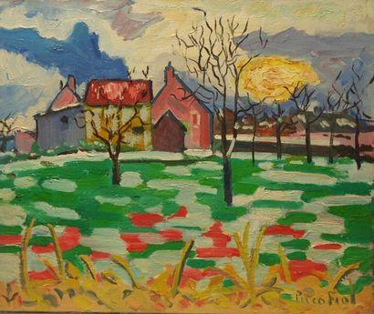 Paco FIOL (1939) Soleil de neige, 1985 Huile sur toile Signé en bas à droite 46x55...