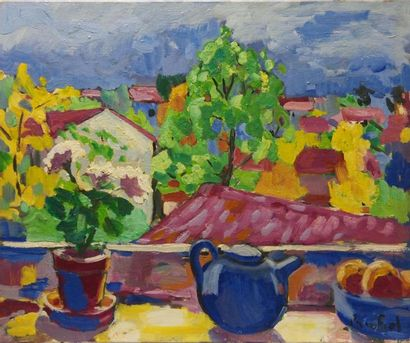 Paco FIOL (1939) La théière bleue, 1980 Huile sur toile Signé en bas à droite 50x61...