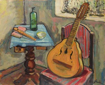 Paco FIOL (1939) Mandoline et flûte, 1972 Huile sur toile Signé en bas à droite 50x61...