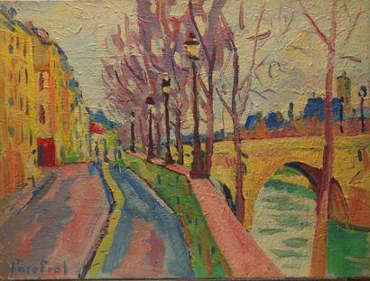 Paco FIOL (1939) Paris, quai de Béthune, 1982 Huile sur toile Signé en bas à gauche...