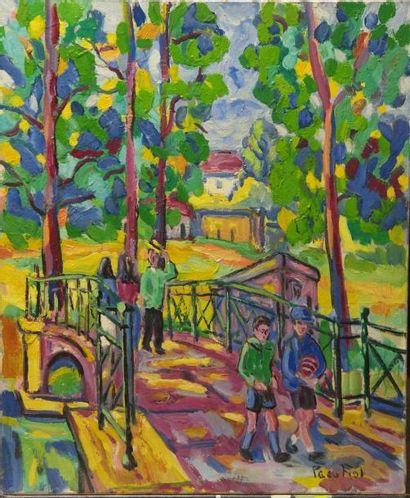 Paco FIOL (1939) Paco FIOL (1939) En traversant le pont, 1982 Huile sur toile Signé...