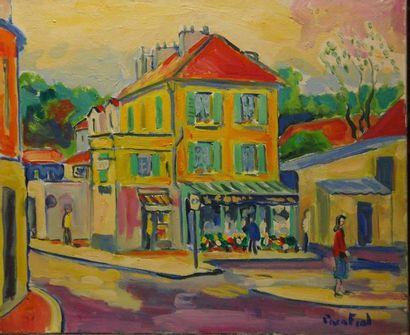 Paco FIOL (1939) Fleuriste de banlieue, 1982 Huile sur toile Signé en bas à droite...