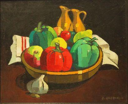 Jean JACQUELIN (1905-1989) Les poivrons, 1964 Huile sur toile 38x46 cm