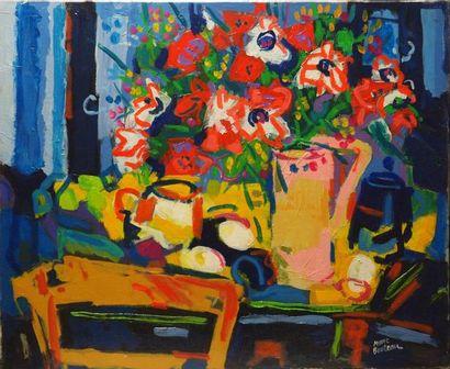 Marc BOUTEAU (1935) Le bouquet devant la fenêtre, 1982 Huile sur toile Signé en bas...