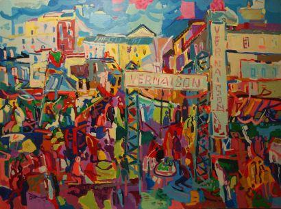 Marc BOUTEAU (1935) Le marché aux Puces, 1982 Huile sur toile Signé en bas à gauche...