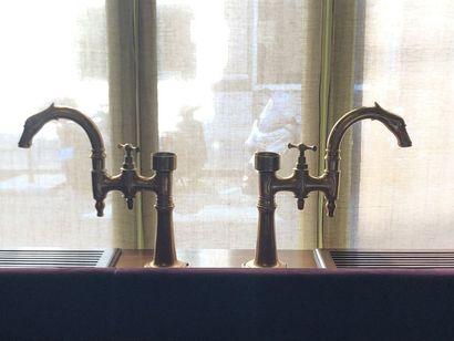 Deux grands robinets à col de cygne en bronze...