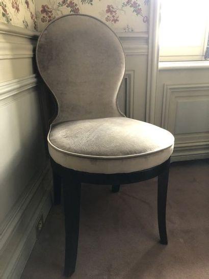 7 chaises garniture velours gris souris pieds...