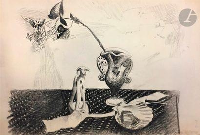 Sigismond KOLOS-VARY [hongrois] (1899-1983) Natures mortes 2 fusains. Portent le...