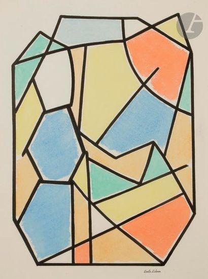 Émile LAHNER (1893-1980) Composition Gouache et aquarelle. Porte le timbre de la...