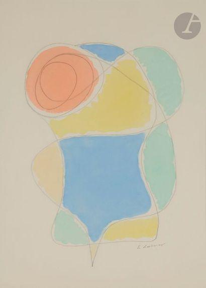 Émile LAHNER (1893-1980) Composition Aquarelle...
