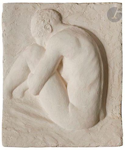 Jean LEYRIS (né en 1939) Verger - Jeune africaine accroupie 2 reliefs en plâtre....