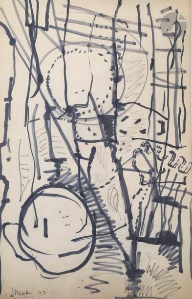 Jean MAILHE (1912-1997) Compositions, 1962 7 feutres de couleurs ou feutres noirs....