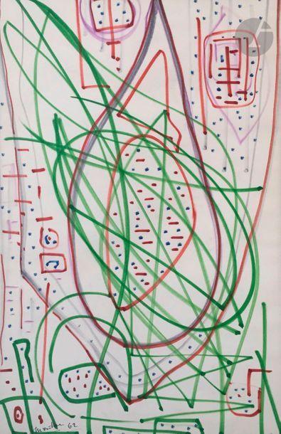 Jean MAILHE (1912-1997) Compositions, 1962-63 6 crayons gras ou feutres. Signés...