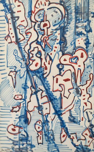 Jean MAILHE (1912-1997) Compositions, 1962-63 5 pastels gras ou feutres. Signés...