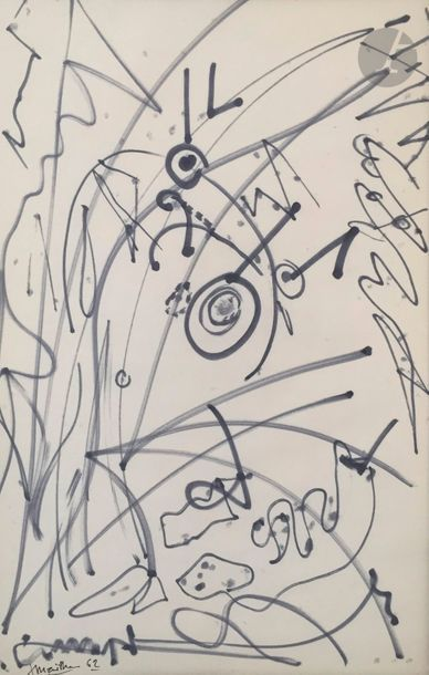 Jean MAILHE (1912-1997) Compositions, 1962 8 feutres de couleurs ou feutres noirs....