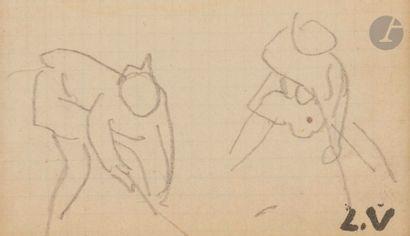 Louis VALTAT (1869-1952) Travail des champs Mine de plomb. Porte le timbre du monogramme....